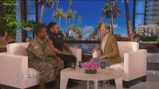 Ellen surprises Atlanta family on her show after video goes viral of soldier reuniting with officer