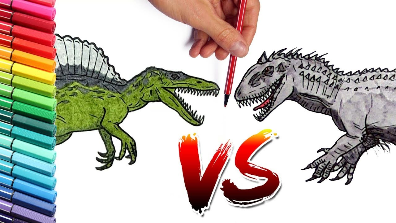 Spinosaur Vs Indominus Rex Color Pages Learn To Draw And Paint
