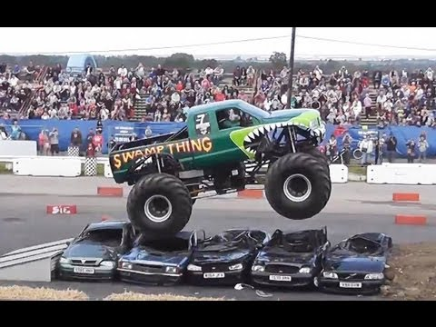 Swamp Thing Monster Truck Jumps Clean Over Cars Great Driving Youtube