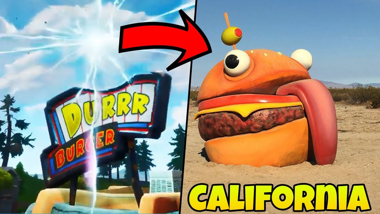 This Is Where The Durrr Burger Has Been Teleported To California Desert Fortnite Youtube Got to visit the durr burger that's next to my hometown, what is going to happen in season 5 @fortnitegame ?!? this is where the durrr burger has been teleported to california desert fortnite