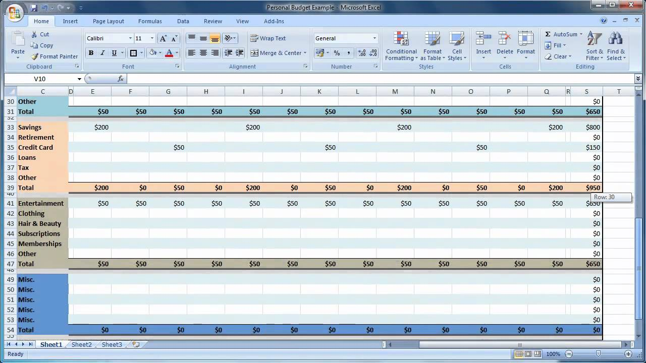 excel 2007 how to create a personal budget guide level 1 youtube