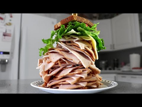 The Largest Sandwich I've Ever Made! (Turkey & Swiss)