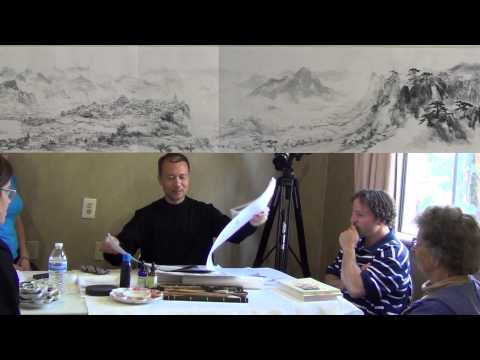 Painting Buildings and Landscape on a Long Scroll from the 47 Ronin Movie Set with Henry Li