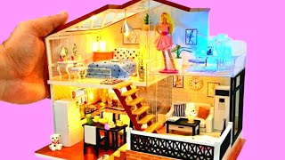 4 DIY MINIATURE DOllhouse Rooms~TWO STOREY DOLLHOUSE~ BARBIE TOY DOLLHOUSE