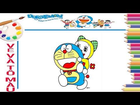 Dạy bé vẽ và tô màu doraemon và doremi - How to draw doraemon and doremi