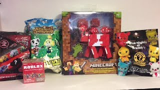 Minecraft Mooshroom FNAF Mystery Mini Plush Animal Crossing Roblox Cars Blind Bag Toy Opening & Rev