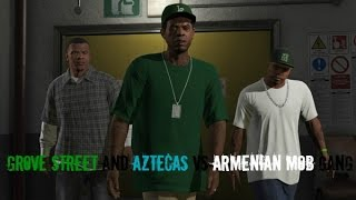 GTA 5 - 'Grove Street And Aztecas VS Armenian Mob Gang!' (Gang War)