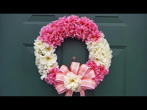 Spring Flower Wreath | Bow Tutorial | Dollar Tree DIY