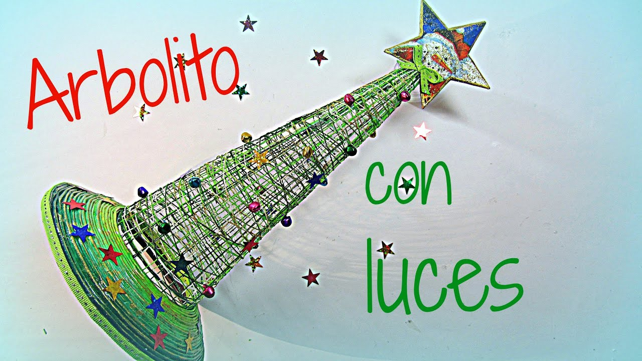 Manualidades de navidad arbol con luces tree with lights - Arboles de navida ...
