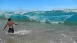 P.O.V. Massive wave at Big Beach in Maui wipes swimmers out!