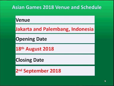Asian Games 2018 Venue And Schedule