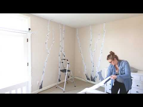 Installing Printed Birch Tree Wall Decals