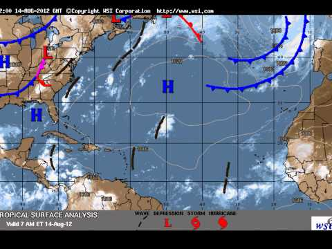 Hurricane Hector Splits Red Radar Storm Cells Caribbean Gulf of Mexico 14 August 2012