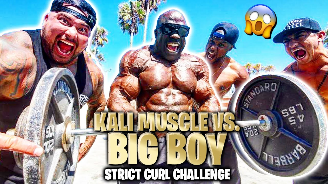 WHAT CAN THE MAN WITH BIGGEST ARMS STRICT CURL? | Kali Muscle vs Big Boy