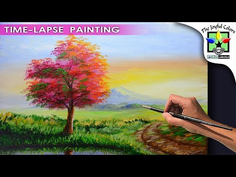 LANDSCAPE PAINTING TUTORIAL Basic and step by step Sunrise Scene with Autumn Tree & Road | BEGINNERS