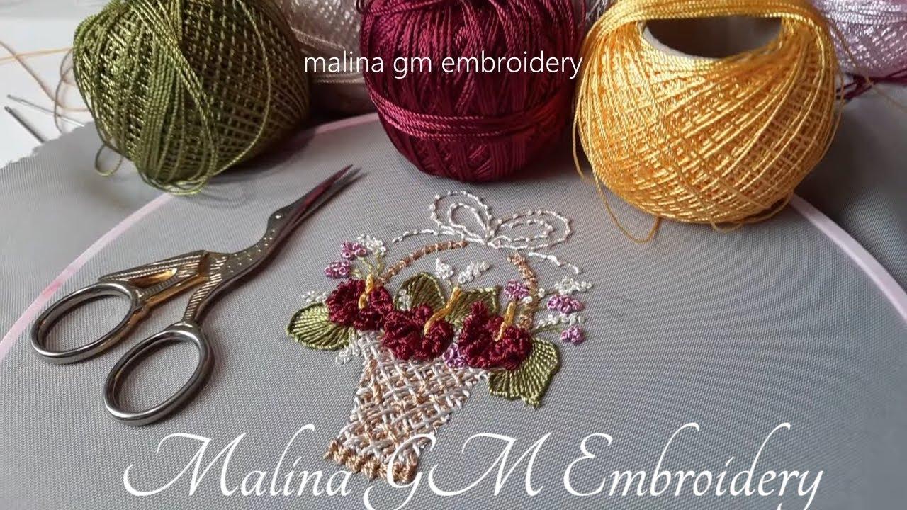 Brazilian Embroidery | Flower Basket | Knotted Cast-on Stitch