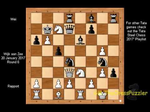 Rapport sacrifices both Bishop & Knight simply for nothing vs Wei R6 Tata Steel Chess 2017
