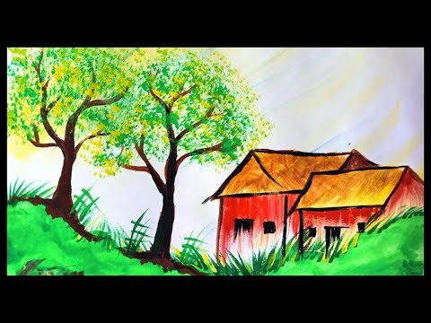Beautiful Painting Of Nature || Landscape Scenery || Water Colour Painting