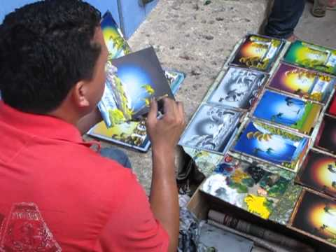 Street artist in Cartagena, Columbia