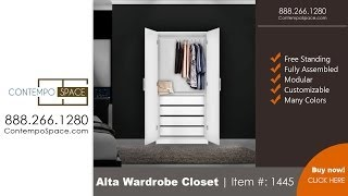 Alta Wardrobe Closet - 2 Doors, 4 Interior Drawers | Item #: 1445