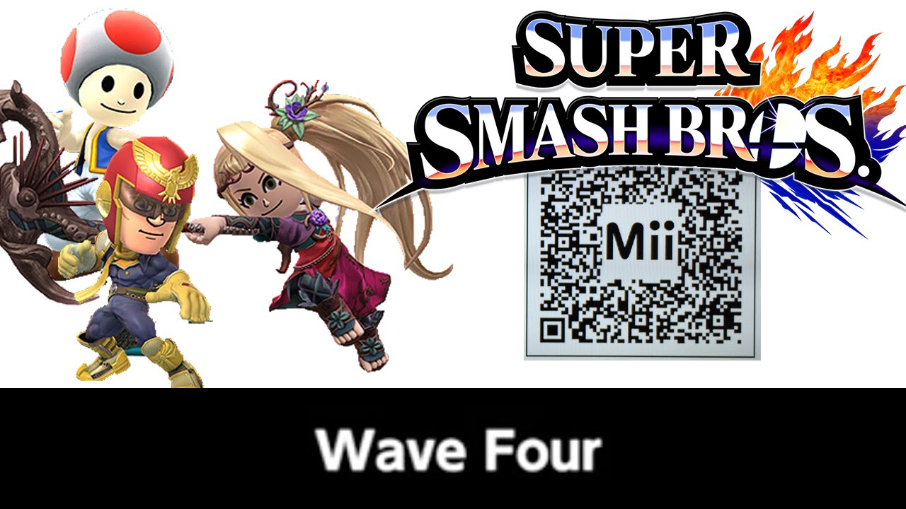 Toad amp c falcon mii fighter qr codes for smash bros youtube