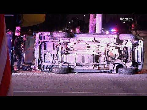 Pursuit of DUI suspect from Garden Grove to Long Beach ends with car flipped on its side