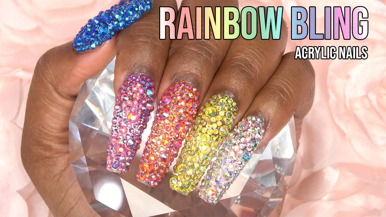 Acrylic Nails - Rainbow Bling Nails - LongHairPrettyNails