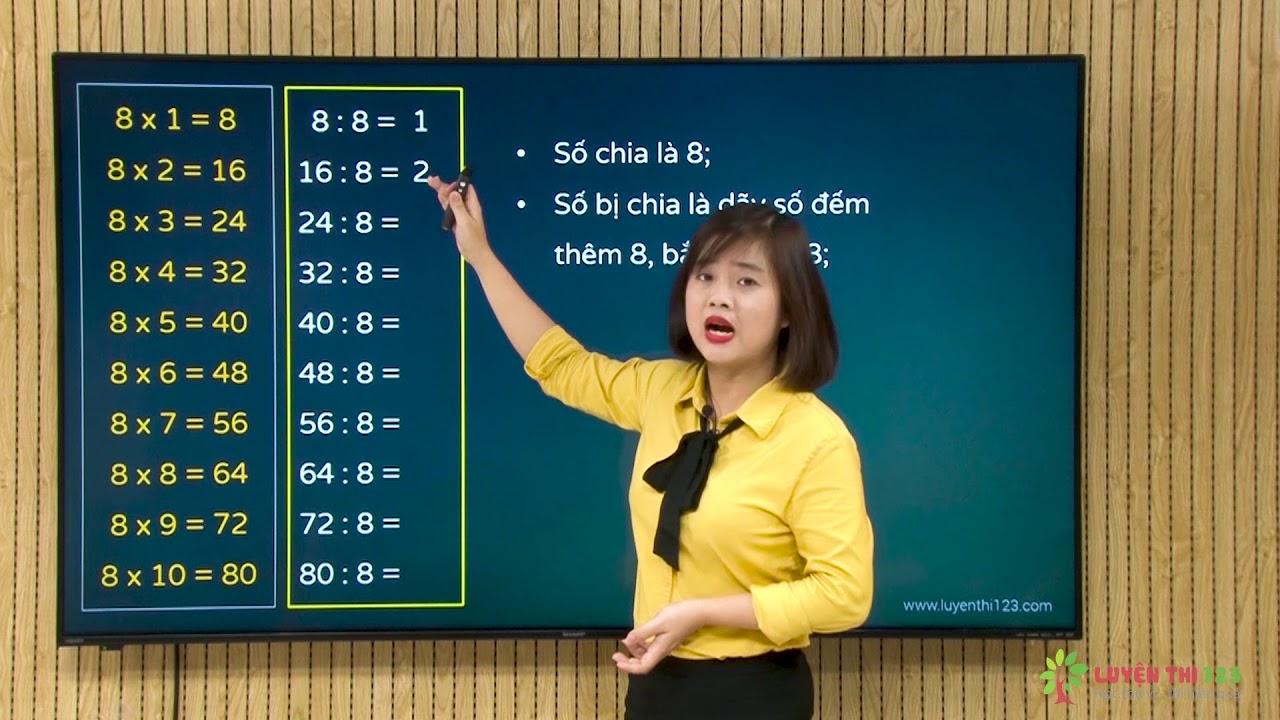 Toán lớp 3 – Bài 29: Bảng chia 8