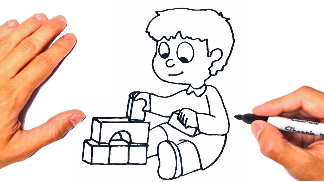 Como dibujar un Niño Jugando