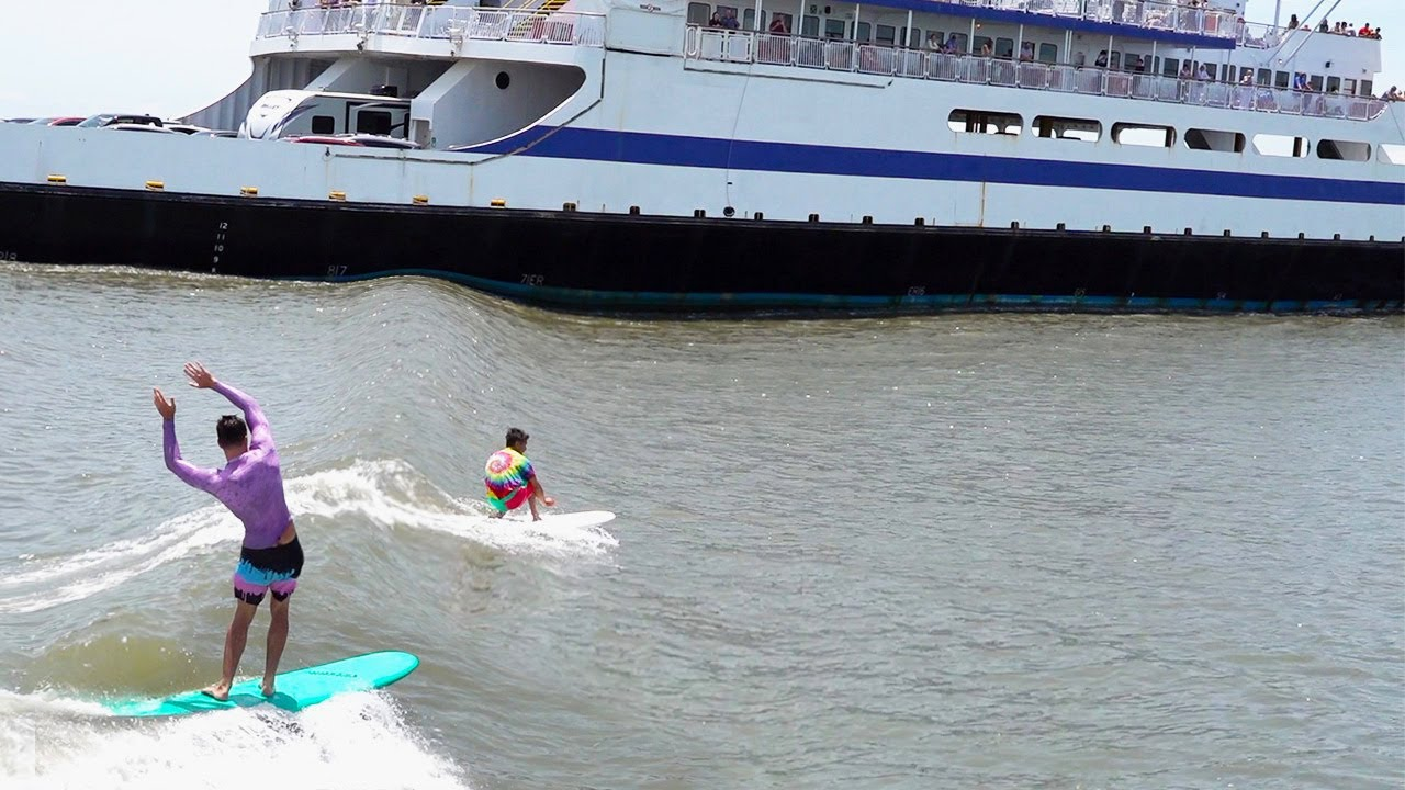2 KOOKS surf sketchy FERRY wave with the NOVELTY KING !!!