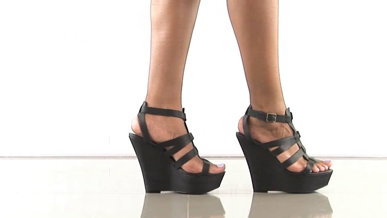 Wedge Sandals Steve Madden Winslet in Black Leather Steve