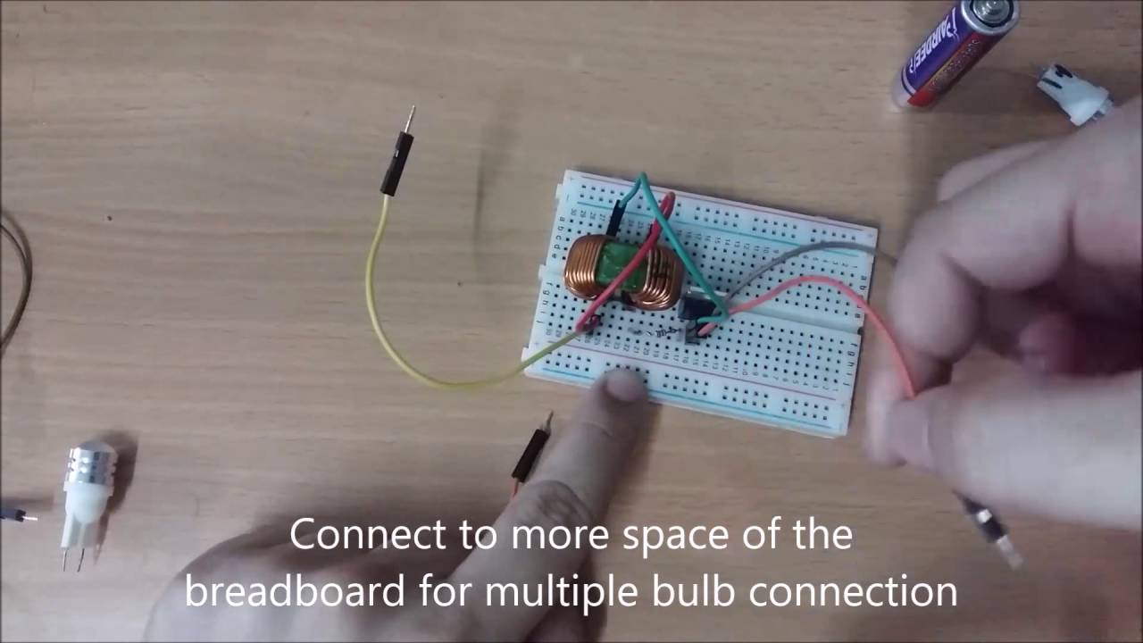 medium resolution of easy simple high step up current joule thief powered up multiple 8 volts led using 1 5 aa battery youtube