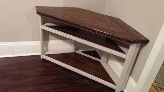 How to Make a Corner TV Stand Part II - Farmhouse Style