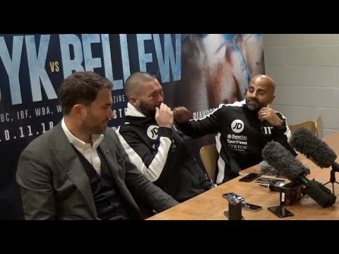 TONY BELLEW BREAKS DOWN IN TEARS IN MIDDLE OF PRESS CONFERENCE / USYK-BELLEW