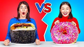 TANTANGAN MAKANAN RAKSASA VS MUNGIL DALAM 24 JAM! Makanan Besar VS Kecil oleh 123 GO! CHALLENGE