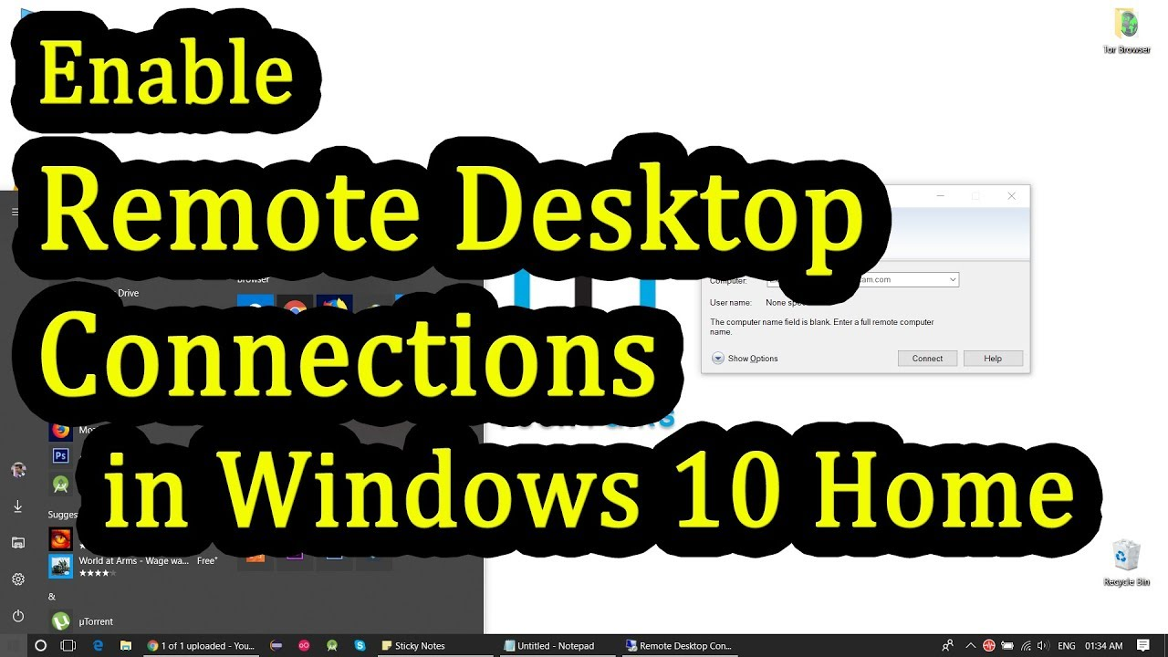 How to Enable Remote Desktop Connection on Windows 10 Home edition