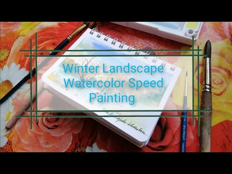 Winter landscape, Watercolor. Speed Painting.