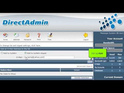 Een mailing list aanmaken in Direct Admin