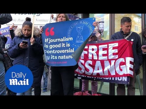 Julian Assange Supporters Gather At Westminster Magistrates' Court