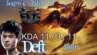 EDG Deft SIVIR vs JHIN ADC - Patch 6.18 KR Ranked | League of Legends