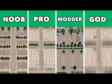Noob VS Pro VS Modder VS God - Building parking lots in Cities: Skylines