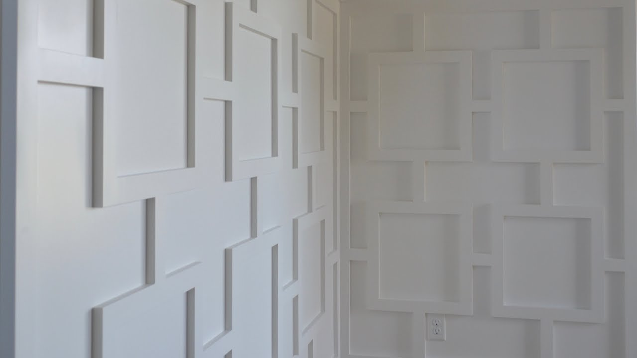 Modern wainscoting a pattern of squares