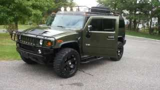 "~~SOLD~~2003 Hummer H2 Luxury For Sale~Rare Sage Green~20"" Rock Stars~GoBi Rack~ONLY 14000 Miles"