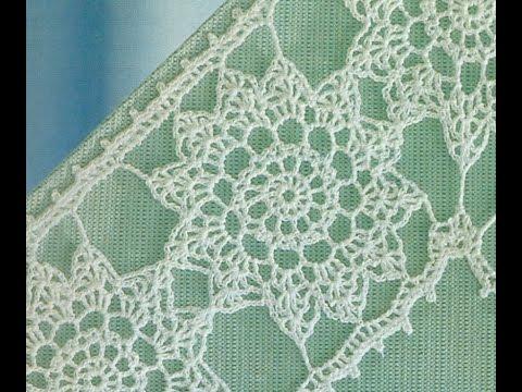 Esquemas para tejer entredós con flores a crochet - YouTube