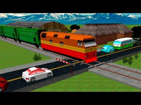 Мультики про поезда и машинки - мультфильм про железно   дорожный переезд.