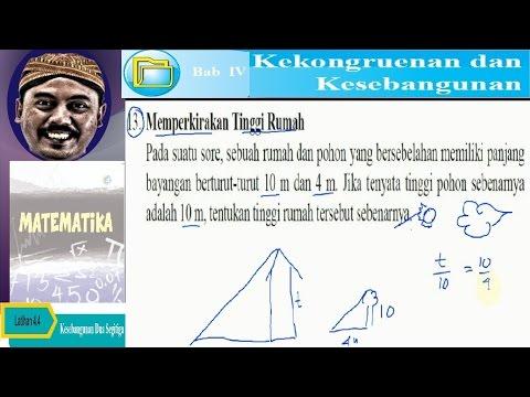 memperkirakan tinggi rumah , segitiga sebangun  , bse matematika kelas IX K13 lat 4,4 no 13