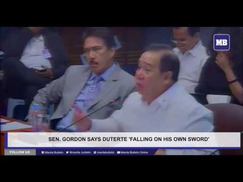 Sen. Gordon says Duterte 'falling on his own sword'