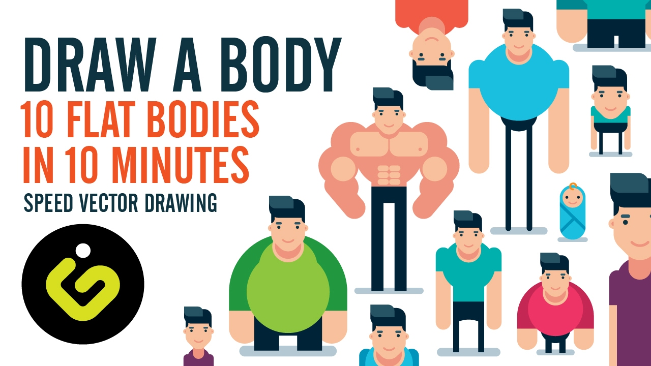 how to draw a body 10 flat design bodies in 10 minutes speed