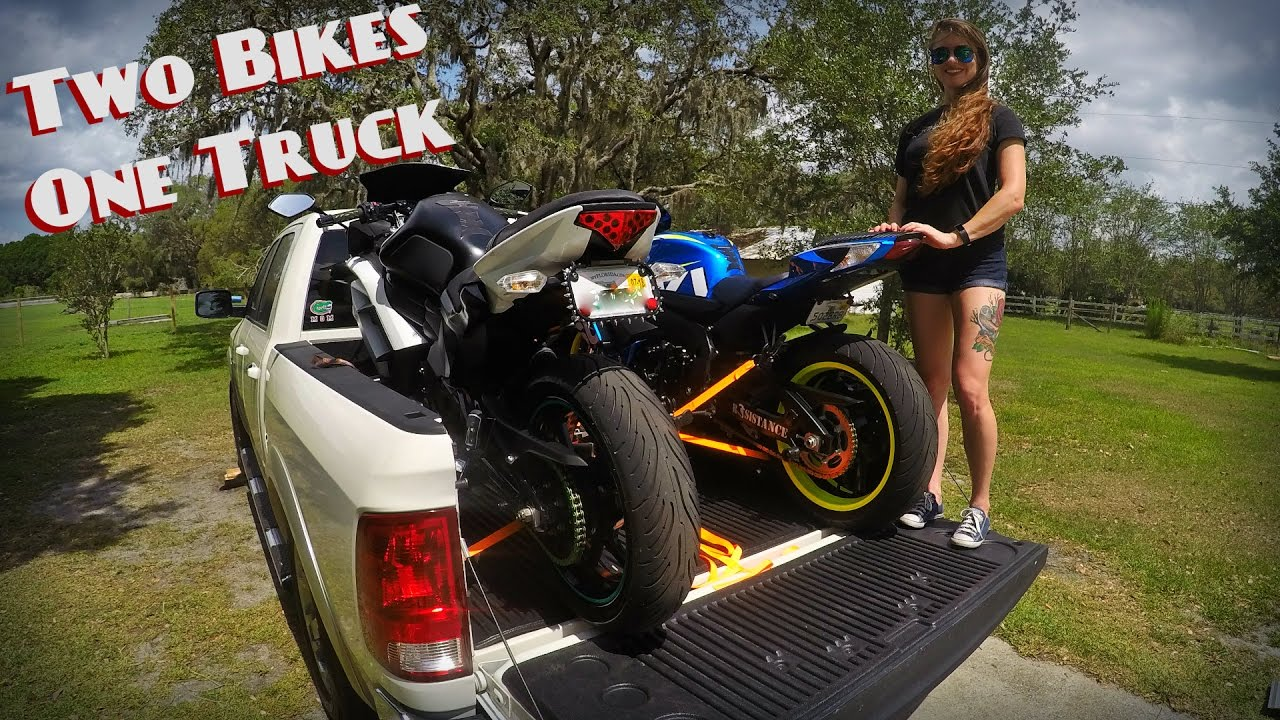 How To Load 2 Motorcycles Into 1 Truck - YouTube