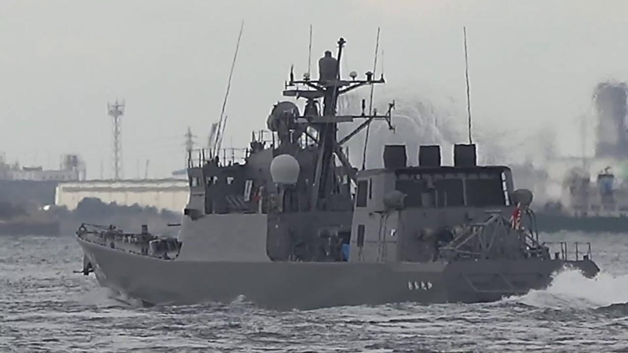 海上自衛隊 ミサイル艇「おおたか(大鷹)」関門海峽西航 - YouTube